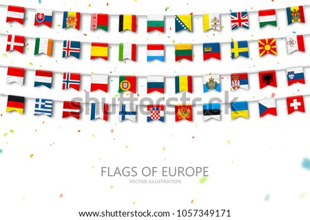Colorful flags of different countries of the europe and world with confetti. Festive garlands of the international pennant. Bunting flags. Vector banner for celebration party, conference, congress