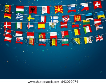 Colorful flags of different countries of the europe with confetti on blue background. Festive garlands of the international pennant. Bunting wreaths. Vector banner for celebration party, conference