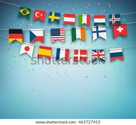Colorful flags of different countries of the world with confetti on blue background. Festive garland of the international banners, celebration party. Vector banner.