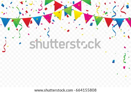 Colorful Flags With Confetti And Ribbons Falling On Transparent Background. Celebration Event & Party. Multicolored. Vector