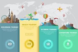 Colorful flat infographic for travel and tourism.