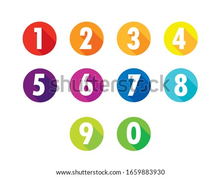 Colorful Flat Number Icons Long Shadow  From Zero to Nine , Number Flat  Design, Number Set vector illustration . Foto stock ©
