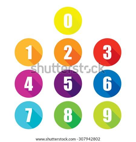 colorful flat number icons with