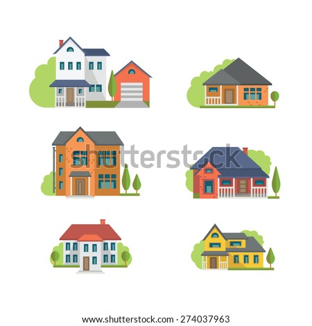 Colorful Flat Residential Houses, eps 10 no transparencies.