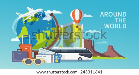 Colorful flat vector travel banner. Quality design illustrations, elements and concept. Advertising banner. Around the world.