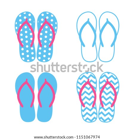 b26cbf39c Colorful flip flops. Beach slippers. Sandals. Vector icon isolated on white  background.