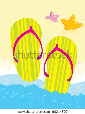 Colorful flipflops on the beach - VECTOR