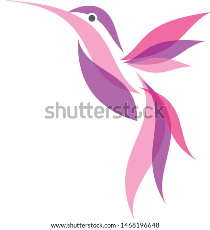 Colorful fliying Hummingbird icon symbol in flat style. Hummingbird vector symbol for element design. Vector illustration EPS.8 EPS.10
