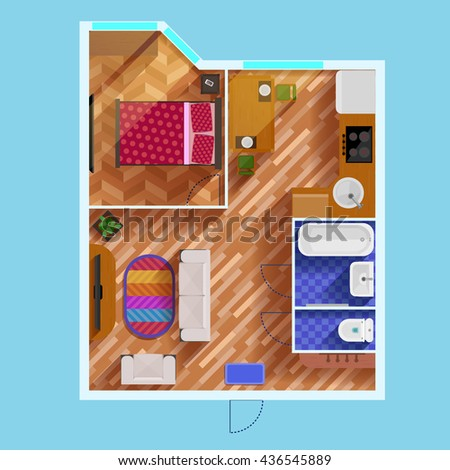 colorful floor plan of...