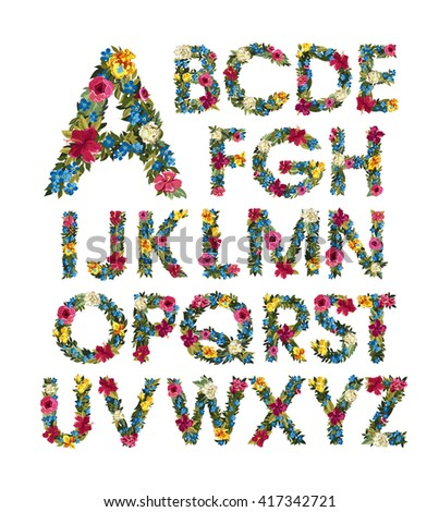 colorful floral alphabet abc