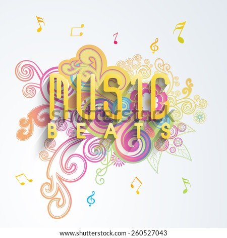 Colorful floral background with musical notes and glossy text Music Beats.