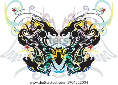 Colorful floral butterfly wings with dragon elements. Beautiful unusual butterfly wings with floral splashes and decorative elements for wallpaper, textiles, prints on T-shirts, etc.