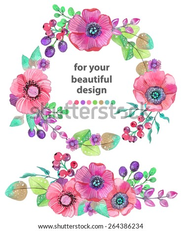 Colorful floral card with leaves and flowers, watercolor illustration. For design of  invitation, wedding or greeting cards, VECTOR