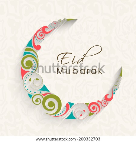 Colorful floral design decorated crescent moon for Eid Mubarak festival celebrations.