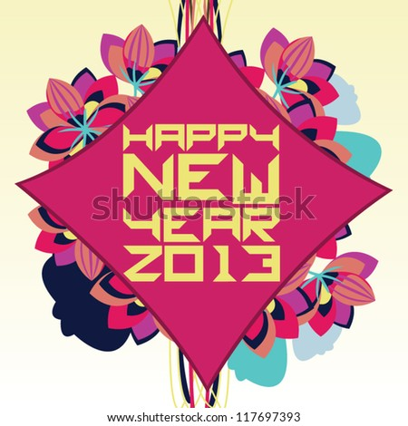 "Colorful floral design with ""happy new year 2013"" greeting on red background."