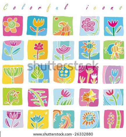 Colorful Floral icons. To see similar, please VISIT MY GALLERY.