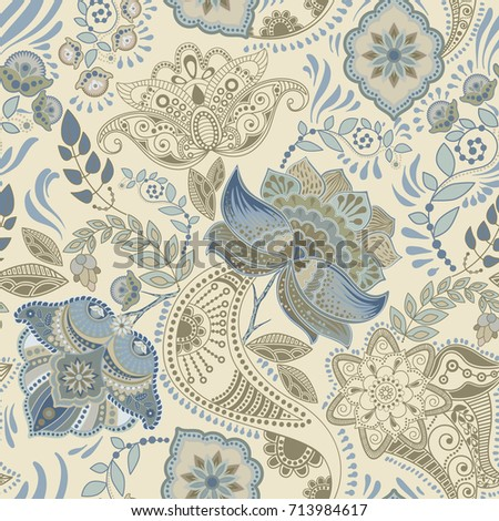 Colorful floral seamless pattern. Vector Paisley ornament. Decorative flowers. Design for fabrics, cards, web, decoupage