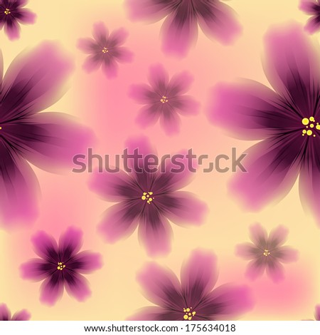 Colorful floral seamless pattern with exotic tropical purple flowers. Vector illustration