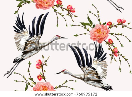Colorful floral seamless pattern with flowers, japanese bird. Vector traditional folk fashion ornament on white background.