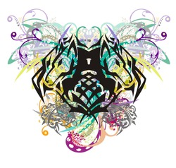 Colorful floral wolf head splashes. Tribal double wolf symbol formed by the head of an eagle with gray bird elements, floral twisted elements and colorful drops