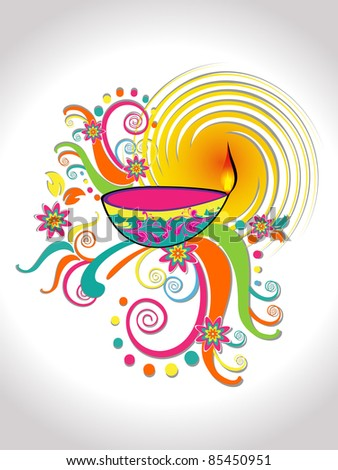 colorful flourish artwork background with decorated isolated diya for deepawali & other indian festival