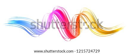 Colorful flow brushstroke. Ribbon isolated line.. Realistic volume wave. Liquid paint ink shape isolated on white background. Cover page for your design project. Real vector illustration swirl blur.