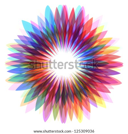 colorful flower, abstract shape illustration