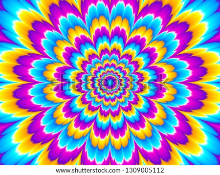 Colorful flower blossom. Optical illusion of movement.