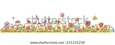 colorful flower border with