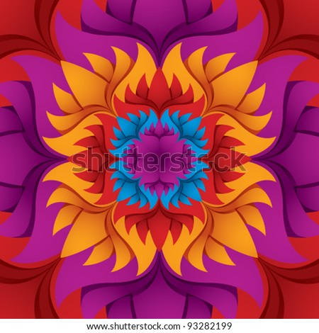 Colorful flower kaleidoscope background, vector illustration.