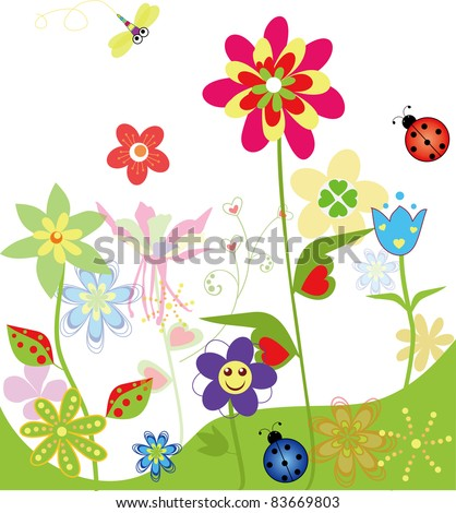 colorful flower set of spring
