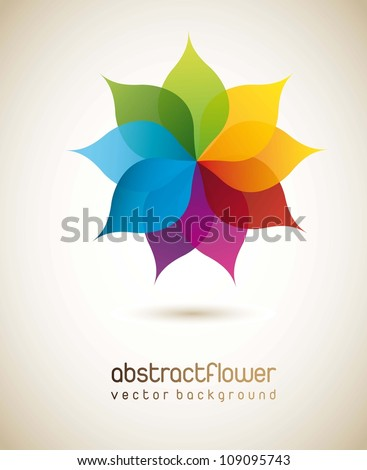 stock-vector-colorful-flower-with-shadow-background-vector-illustration