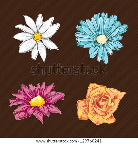 Colorful Flowers Icons Set on vintage background. Vector Illustration - stock vector