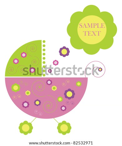 Colorful flowers perambulator from text