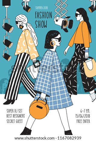 Colorful flyer or poster template for fashion show with top models wearing seasonal clothes walking along runway or doing catwalk. Hand drawn vector illustration for event promotion, advertisement.