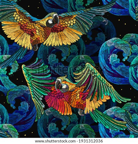 Colorful flying ara parrots and sea waves seamless pattern. Macaws. Magic romantic tropical background. Fashionable template for design of clothes, textiles Foto stock ©