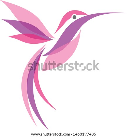Colorful flying Hummingbird in flat style for your best business icon symbol. Hummingbird vector symbol for element design. Vector illustration EPS.8 EPS.10