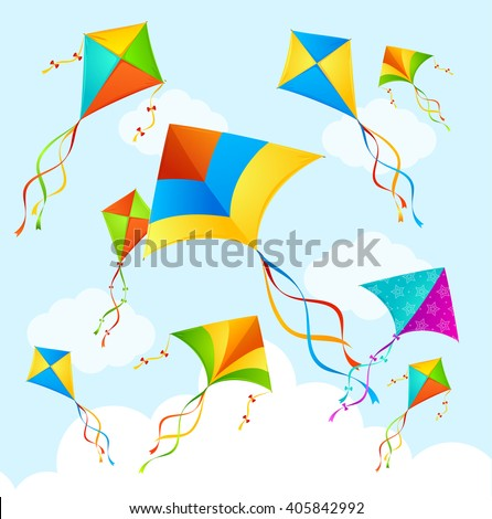 colorful flying kite on sky