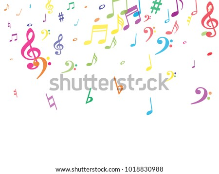 Colorful flying musical notes isolated on white background. Rainbow musical notation symphony signs, notes for sound and tune music. Vector symbols for melody recording, prints and back layers.