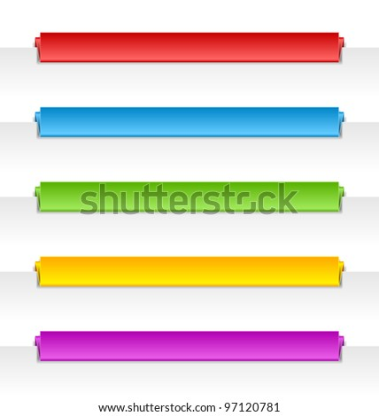 Colorful folded paper panel bars suitable for horizontal website navigation menu
