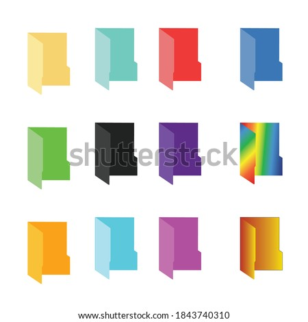 Colorful Folders Icon Set, File Vector, Windows Folder Multi-Colored Rainbow Collection