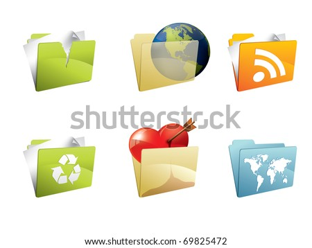 Colorful folders with accesories
