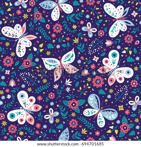 Colorful folk vector seamless pattern with butterflies and flowers.