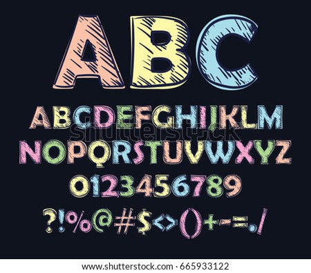 colorful font  doodle style