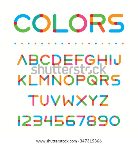 Colorful font. Retro style unique font, with bright colors. Handcrafted vintage font with playful letters. Included all letters and numbers, for creating your own design.