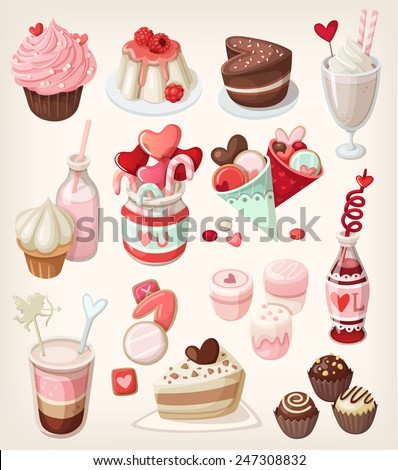 Colorful food for love related occasions: Valentine's day, romantic date, wedding