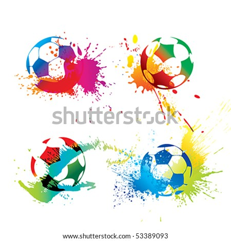 Colorful footballs