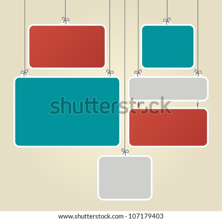 Colorful for advertising brochure with paper boards hanging by strings - stock vector