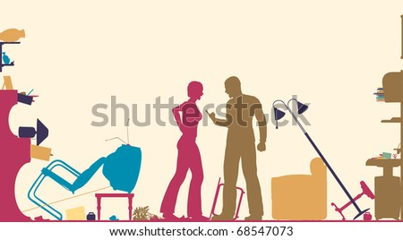 Colorful foreground silhouette of a couple having a serous domestic argument in a living room