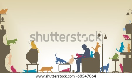 Colorful foreground silhouette of a woman in a living room with twenty cats with copy space
